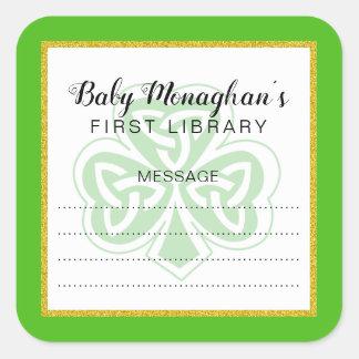 Sticker Carré Ex-libris irlandais de baby shower de shamrock +