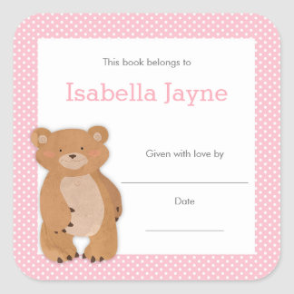 Sticker Carré Ex-libris rose de baby shower d'ours, plat de