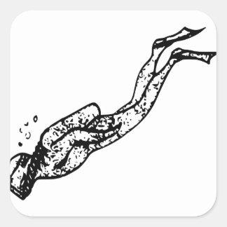 Sticker Carré Explorer de plongeur autonome