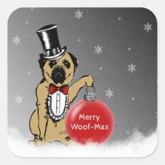 Sticker Carré Expositions canines de monsieur Pug vos souhaits