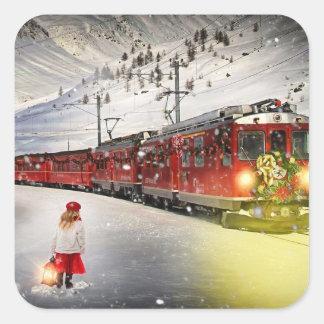 Sticker Carré Express de Pôle Nord - train de Noël - train de