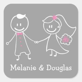 Sticker Carré Faire-part rose et gris de jeune mariée et de