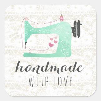 Sticker Carré Fait main avec la machine à coudre d'amour sur la
