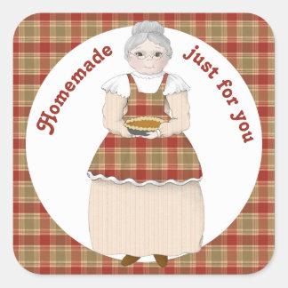 Sticker Carré Fait maison par la grand-maman juste pour vous