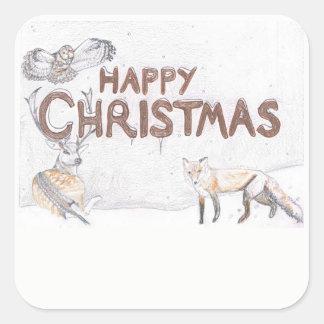Sticker Carré Faune à l'autocollant de Noël