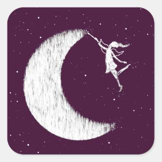 Sticker Carré Fée d'art : Peignez la lune (pourpre)