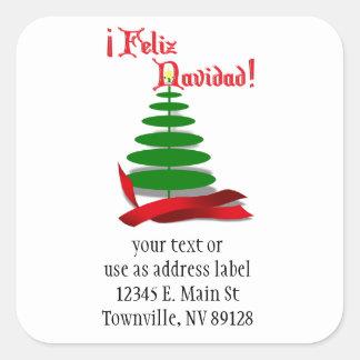 Sticker Carré Feliz Navidad - arbre de Noël avec le ruban rouge