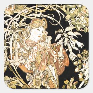 Sticker Carré Femme dans des vignes de jasmin