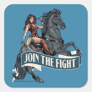 Sticker Carré Femme de merveille sur l'art comique de cheval