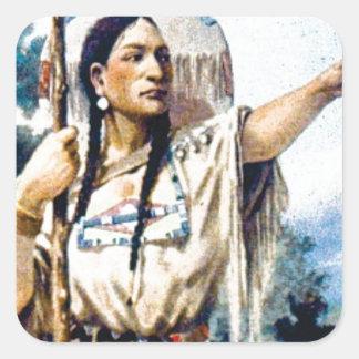Sticker Carré femme indienne de squaw