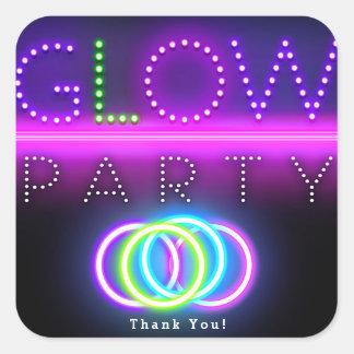 Sticker Carré Fête d'anniversaire noire de lampes au néon de