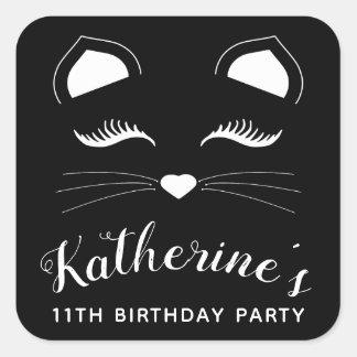Sticker Carré Fête d'anniversaire noire et blanche de chat