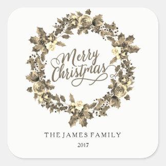 Sticker Carré Fête de Noël 2017 de famille de guirlande d'or