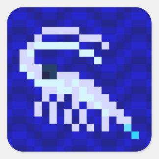 Sticker Carré Feuille d'autocollant de crevette rose d'art de