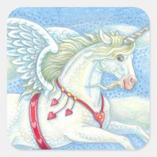 Sticker Carré Feuille d'AUTOCOLLANT de PEGASUS de licorne de