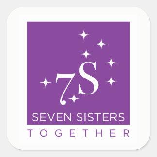 Sticker Carré Feuille d'autocollant de sept soeurs ensemble - 6