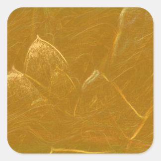 Sticker Carré Feuille de cuivre de l'or n :  Lotus a gravé la