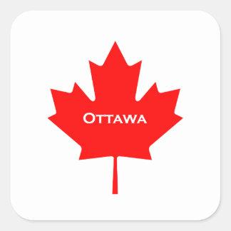 Sticker Carré Feuille d'érable d'Ottawa