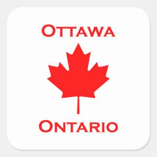 Sticker Carré Feuille d'érable d'Ottawa Ontario