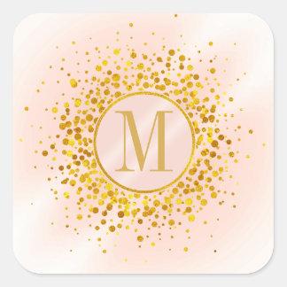 Sticker Carré Feuille d'or rose ID445 de monogramme de confettis