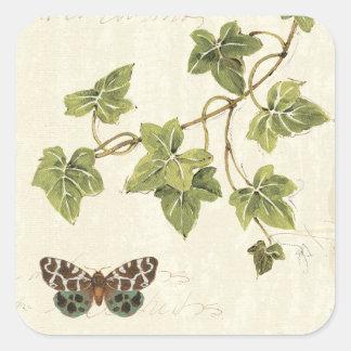 Sticker Carré Feuille et un papillon