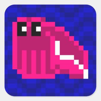 Sticker Carré Feuille rose d'autocollant de seiches du seau Mimi