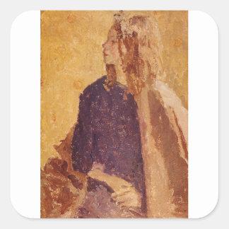 Sticker Carré Fille d'art de post impressionnisme dans le profil