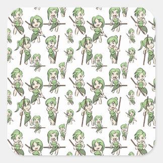 Sticker Carré filles amazoniennes de chibi