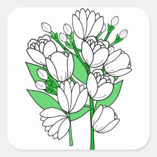Sticker Carré Fleur de jasmin