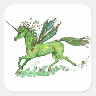 Sticker Carré Fleur de magie de poney de la terre de licorne de