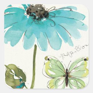 Sticker Carré Fleur et papillon bleus