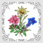Sticker Carré Fleurs alpines