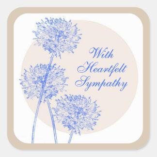 Sticker Carré Fleurs bleues et cercles bronzages