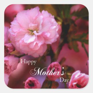 Sticker Carré Fleurs de cerisier heureuses de rose de ressort de