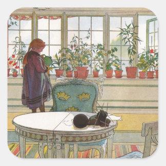 Sticker Carré Fleurs sur le rebord de fenêtre par Carl Larsson