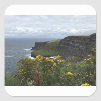 Sticker Carré Fleurs sur les falaises de Moher