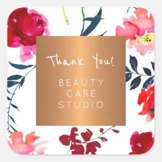 Sticker Carré Floraux métalliques d'en cuivre de studio de