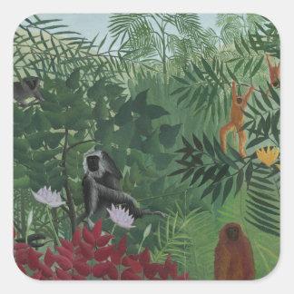 Sticker Carré Forêt tropicale de Rousseau avec des singes