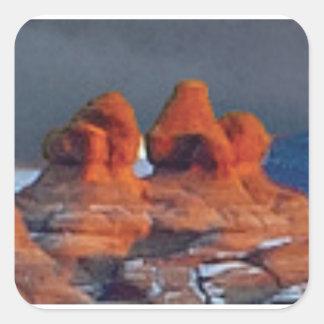 Sticker Carré formes des roches rouges