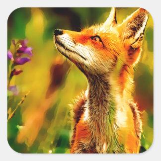 Sticker Carré Fox de ressort
