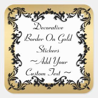 Sticker Carré Frontière noire décorative sur l'autocollant d'or