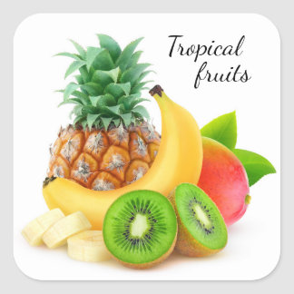 Sticker Carré Fruits tropicaux