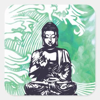 Sticker Carré Fumée d'émeraude de vague de Bouddha d'ouragan