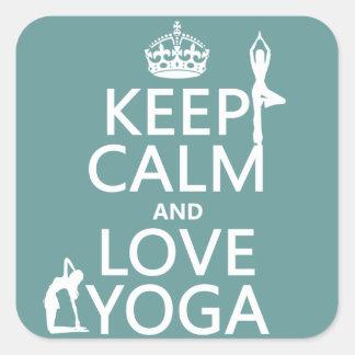 Sticker Carré Gardez le calme et aimez le yoga (les couleurs