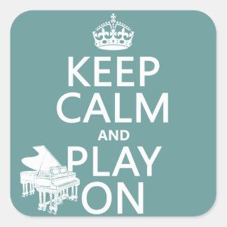 Sticker Carré Gardez le calme et le jeu sur (piano) (toute