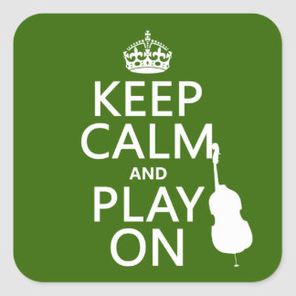 Sticker Carré Gardez le calme et le jeu sur (violoncelle) (toute