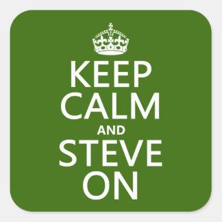 Sticker Carré Gardez le calme et le Steve sur (toute couleur)