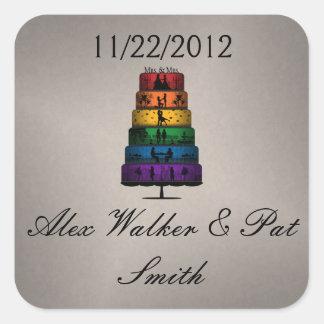 Sticker Carré Gâteau de mariage lesbien de fierté