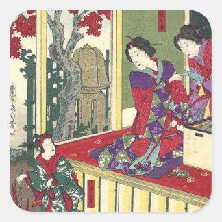 Sticker Carré geisha de Japonais de kimono d'arbre d'érable de