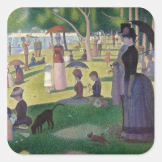 Sticker Carré GEORGE SEURAT - Un 1884 dimanche après-midi